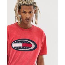 Tommy Jeans - Summer Heritage Capsule - Rotes T-Shirt mit großem Logo auf der Brust - Rot