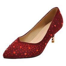 AIYOUMEI Damen Spitz Kleiner Absatz Pumps mit 6cm Absatz und Strass Stiletto Wildelder Schuhe