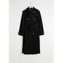 Belted Cotton Cord Trenchcoat - Black