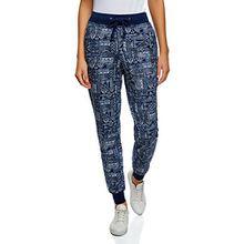 oodji Ultra Damen Jersey-Hose mit Bindebändern, Blau, DE 36 / EU 38 / S