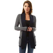 PattyBoutik Damen offene Strickjacke mit langen Ärmeln und Taschen. (dunkelblau und weiß 34/XS)