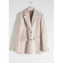 Wool Blend Oversized Blazer - Beige