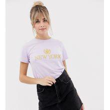New Look - T-Shirt in Lila mit New York-Slogan - Violett
