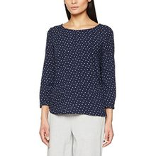 TOM TAILOR Damen Bluse Casual Print Blouse Shirt, Blau (Real Navy Blue 6593), 42