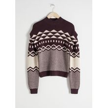 Graphic Cotton Knit Sweater - Brown