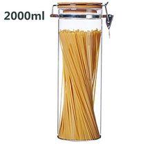 Luftdichter Glasbehälter, ideal für Spaghetti und andere trockene Lebensmittel, getrocknetes Obst, Kaffee, Zucker usw. mit luftdicht schließendem Deckel für Vakuumverschluss, glas, farblos, 2000ML