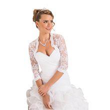 Damen Hochzeit Top Spitzen-Jacke für die Braut Spitzen Bolero Bolerojäckchen Jacke 3/4 langer Ärmel