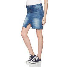 MAMALICIOUS Damen Umstandsrock Mllexi Knee Denim Skirt, Blau (Medium Blue Denim), 38 (Herstellergröße: M)