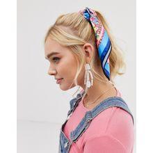 ASOS DESIGN - Haarband/Halstuch aus Polysatin mit leuchtendem Kachelmuster - Mehrfarbig