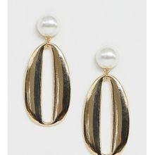Glamorous - Exklusive, goldene Statement-Ohrringe mit Perlendesign - Gold