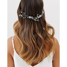 ASOS DESIGN – Silberfarbene Haarkrone mit Weinreben-Kristalldesign