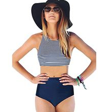 Damen Bikini Set Sonnena Frauen Bademode Schwarz/Blau Beachwear High Waist 2 Piece Stripe Push Up Bandeau Badeanzug +Bikinihose Zweiteilig Schale Slim Swimsuit Strandkleidung (S, Sexy Blau)