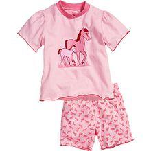 Playshoes Mädchen Zweiteiliger Schlafanzug Pyjama kurzarm Pferde, Gr. 92, Rosa (original 900)