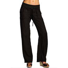 CASPAR KHS025 Damen Leinenhose, Farbe:schwarz;Größe:38 M UK10 US8