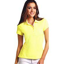 Damen Piqué Polo Shirts Shirt S M L 6 schöne Farben (L (44/46), Gelb)