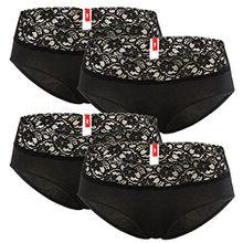 s.Oliver Damen Panties mit Spitze, 4er Pack (M, schwarz)