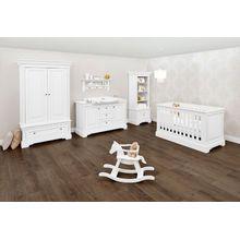 Pinolino Komplett Kinderzimmer EMILIA, 3-tlg. (Kinderbett, extrabreiter Wickelkommode und 2-türiger Kleiderschrank), weiß lackiert