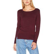 Vila CLOTHES Damen Pullover Vihelena L/S Detail Knit Top/GV, Rot (Fig Fig), 34 (Herstellergröße: XS)