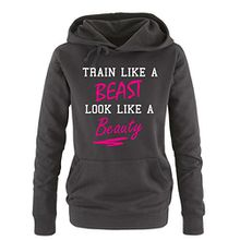 Comedy Shirts - Train like a Beast look like a Beauty - Damen Hoodie - Schwarz / Weiss-Pink Gr. S