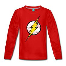 Spreadshirt DC Comics Justice League Flash Logo Kinder Premium Langarmshirt, 110/116 (4 Jahre), Rot