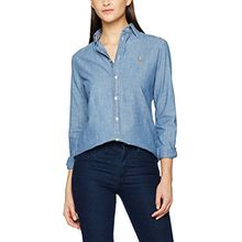 Polo Ralph Lauren Damen Hemd Kendal-Long Sleeve-Shirt, Blau (Cobalt Xw7Y3), X-Large (Herstellergröße: 12)