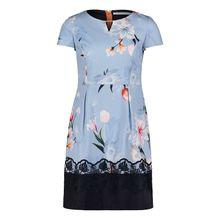 Betty & Co Blumenkleid mit Color Blocking blau Damen