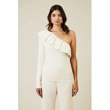 Ganni One-Shoulder Pullover 'Poppy Knit' Weiß