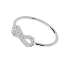 Infinity Ring mit Zirkonia, 925 Sterlingsilber, Größe 58