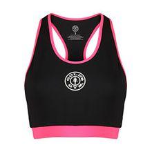 Golds Gym Damen Sporttop Ladies Sports Crop Top with Mesh Lining, Schwarz (Black/Hot Pink Black/Hot Pink), M