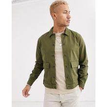 Topman – Shirt mit zwei Taschen in Khaki-Grün