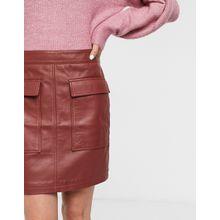 Selected Femme – Roter Leder-Minirock mit Taschen
