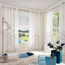 Souarts Weiß Stoffdruck Blumen Gardine Vorhang Schlaufenschal Deko für Wohnzimmer Schlafzimmer Studierzimmer 140x225cm Nur Ein Schlaufenschal