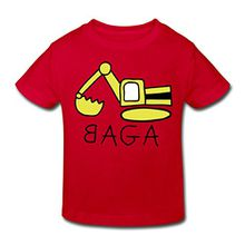 Spreadshirt Bagger BAGA Kinder Bio-T-Shirt, 98/104 (3-4 Jahre), Rot