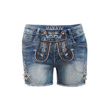 MarJo Jeans-Lederhose Shorts blau Damen