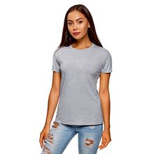 oodji Collection Damen T-Shirt Basic Aus Baumwolle, Grau, DE 38/EU 40/M