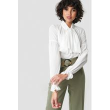 NA-KD Classic Bow Tie Blouse - White