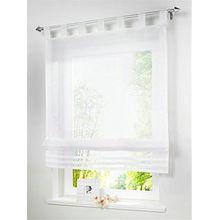 1 Stueck Raffrollo Schlaufen Gardinen Fenster-Vorhang Schal,B 80cm * H 155cm Weiss