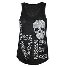 Damen T-Shirt Tank Top Weste LOVE Totenkopf Aufdruck Rundhals Girls Love - Schwarz, S/M 36-38