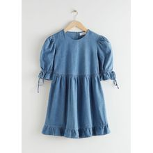 Voluminous Denim Mini Dress - Blue