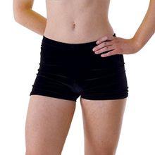 Schwarze Samt-Hüfthose für Mädchen; für Tanz oder Gymnastik. Gr. 9-10 Jahre, schwarz