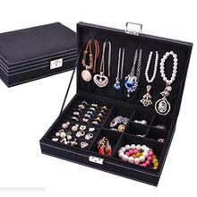 Fyore Abschließbar Schmuckkästchen Damen mit Deckel 4 Fach Samt Klein Schmuckkoffer zum Reise Hochzeit Jewellery Box (Schwarz)