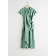 Lyocell Blend Wrap Midi Dress - Green