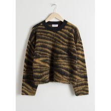 Wool Blend Zebra Sweater - Yellow