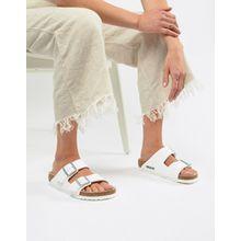 Birkenstock - Flache Sandalen in Arizona White - Weiß