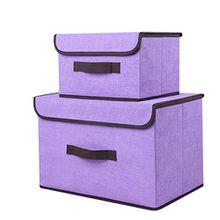 2er Set Aufbewahrungsboxen, aus Baumwolle und Leinen, klappbar mit Deckel. Zum Aufbewahren von Kleidung, Socken, Spielzeug, Snacks und Kleinteilen violett