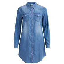 VILA Blusenkleid Blusenkleider blue denim Damen