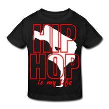 Spreadshirt Hip Hop Kinder Bio-T-Shirt, 152 (11-12 Jahre), Schwarz