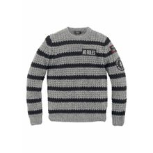 BUFFALO Streifenpullover grau / schwarz