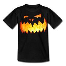 Spreadshirt Halloween Brennender Kürbis Teenager T-Shirt, 152/164 (12-14 Jahre), Schwarz