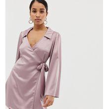 Fashion Union Petite - Satin-Wickelkleid - Violett